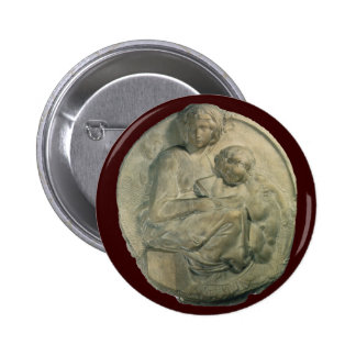 Madonna and Child, Tondo Pitti by Michelangelo 6 Cm Round Badge