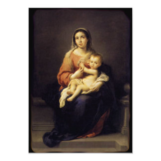 Madonna and Child - Virgin Mary - Murillo 13 Cm X 18 Cm Invitation Card