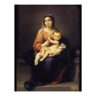 Madonna and Child - Virgin Mary - Murillo 21.5 Cm X 28 Cm Flyer