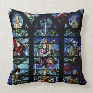 Madonna and Child with angels and portraits reflec Throw Pillows