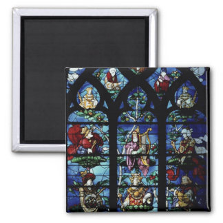 Madonna and Child with angels and portraits reflec Square Magnet