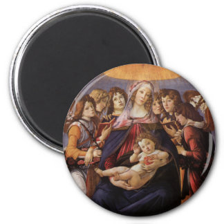 Madonna and Child with Angels by Sandro Botticelli 6 Cm Round Magnet