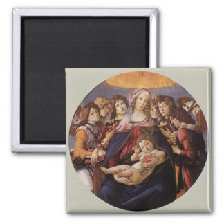 Madonna and Child with Angels by Sandro Botticelli Square Magnet