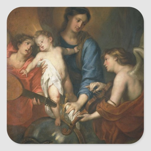 Madonna and Child with angels Square Stickers