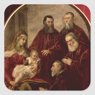 Madonna and child with four Statesmen Square Sticker