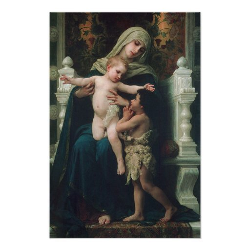 Madonna and child with John the Baptist Poster
