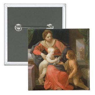 Madonna and Child with Saint John the Baptist 15 Cm Square Badge
