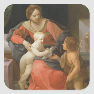Madonna and Child with Saint John the Baptist Square Sticker