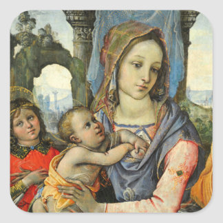 Madonna and Child with Saint Joseph and an Angel Square Sticker