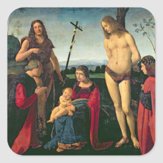 Madonna and Child with SS. John the Baptist and Se Square Sticker