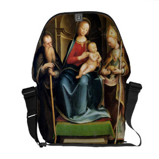 Madonna and Child with St. Anthony Abbot and St. N Messenger Bags