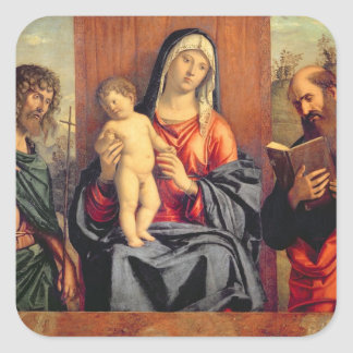 Madonna and Child with St. John the Baptist and St Square Sticker