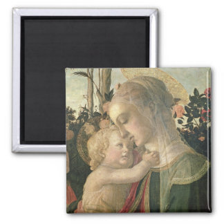 Madonna and Child with St. John the Baptist, detai Square Magnet