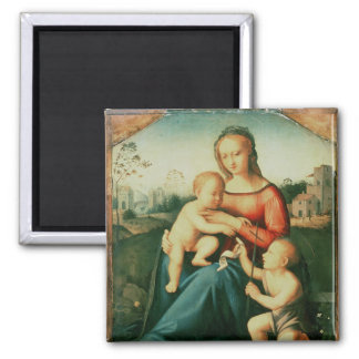 Madonna and Child with St. John the Baptist Square Magnet