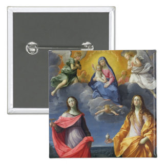 Madonna and Child with St. Lucy and Mary Magdalene 15 Cm Square Badge