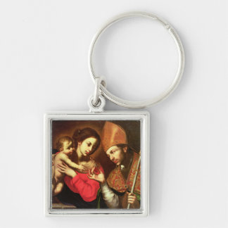 Madonna and Child with St. Zenobius Silver-Colored Square Key Ring