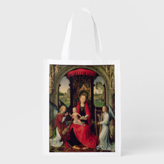 Madonna and Child with two Angels Reusable Grocery Bag