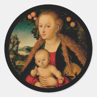 Madonna and Christ Child Under Apple Tree Classic Round Sticker