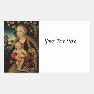 Madonna and Christ Child Under Apple Tree Rectangular Sticker