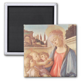 Madonna and two angels by Botticelli Square Magnet