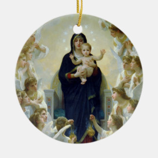 Madonna + Angels, Bouguereau Round Ceramic Decoration