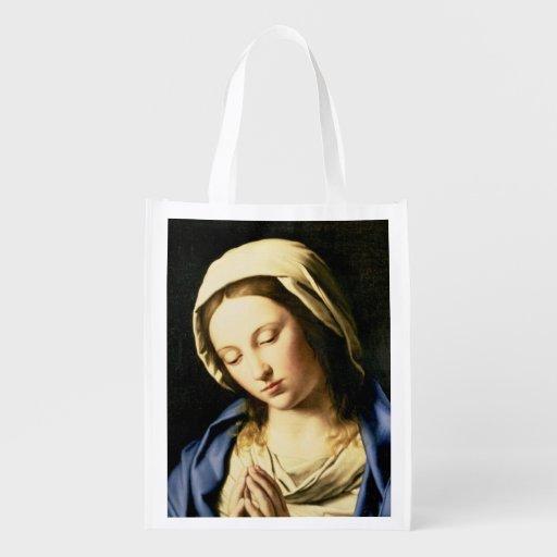 Madonna at Prayer (oil on canvas) Reusable Grocery Bag