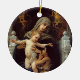 Madonna, Bouguereau Round Ceramic Decoration