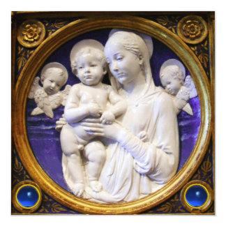 MADONNA,CHILD AND ANGELS Blue Sapphire Christmas 13 Cm X 13 Cm Square Invitation Card