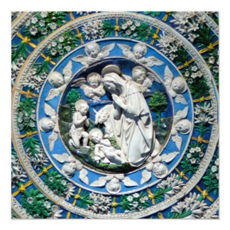 MADONNA,CHILD AND ANGELS Blue Sapphire Christmas Card
