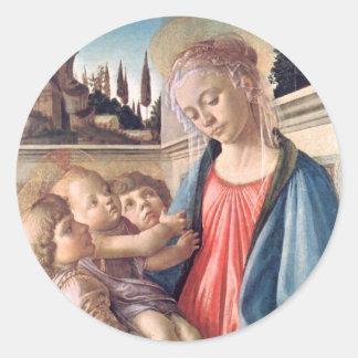 Madonna & Child Two Angels Botticelli Fine Art Round Sticker