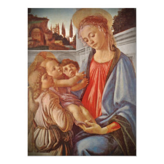 Madonna Christ Child and Angels 14 Cm X 19 Cm Invitation Card