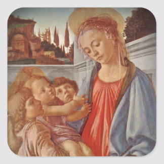 Madonna Christ Child and Two Angels Square Stickers