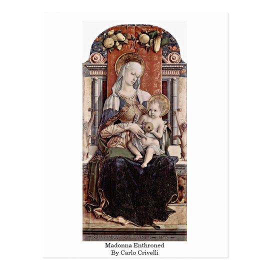 Madonna Enthroned By Carlo Crivelli Postcard