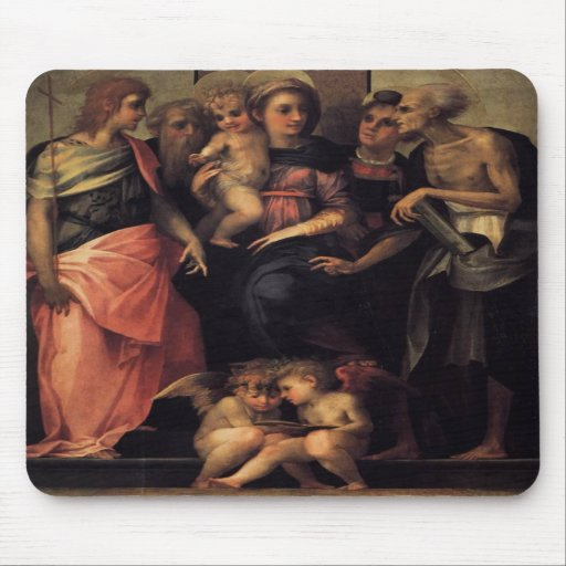Madonna Enthroned with Four Saints Mousepad