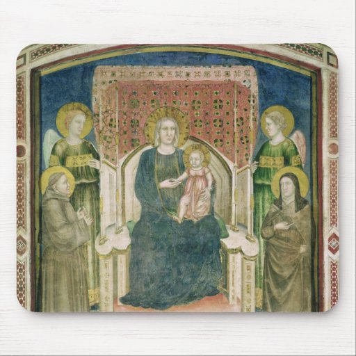 Madonna Enthroned with St. Francis of Assisi Mousepads