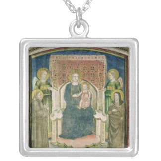 Madonna Enthroned with St. Francis of Assisi Silver Plated Necklace
