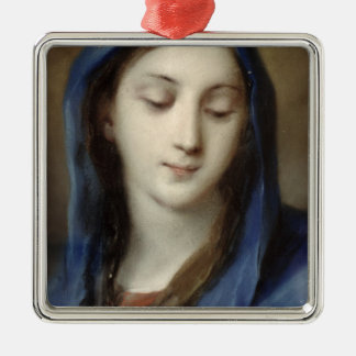 Madonna from the chapel (pastel on paper) Silver-Colored square decoration