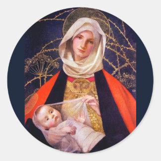 Madonna Holding Child Round Sticker