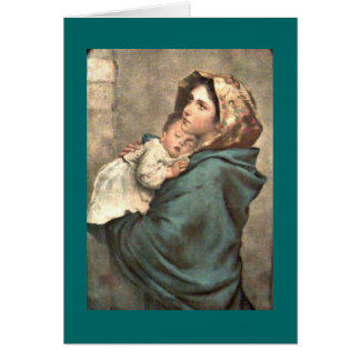 Madonna in Scarf Holds Baby Jesus Card