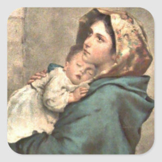 Madonna in Scarf Holds Baby Jesus Square Stickers