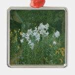 Madonna Lilies in a Garden Silver-Colored Square Decoration