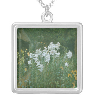 Madonna Lilies in a Garden Silver Plated Necklace