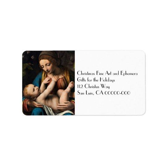 Madonna me Kristusbarnet Label