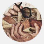 Madonna Of Canon George Van Der Paele Details: Bib Round Sticker