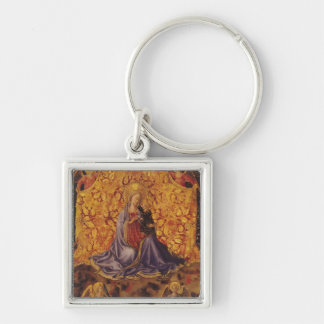 Madonna of Humility with Christ Child and Angels Silver-Colored Square Key Ring