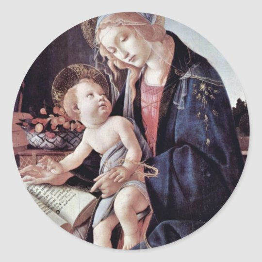 Madonna Of The Book, By Botticelli Sandro Classic Round Sticker
