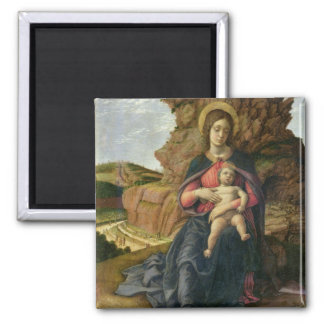 Madonna of the Cave, 1488-90 (tempera on panel) Square Magnet