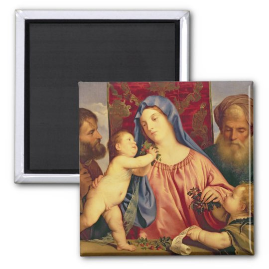 Madonna of the Cherries with Joseph Square Magnet