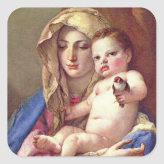 Madonna of the Goldfinch Square Sticker