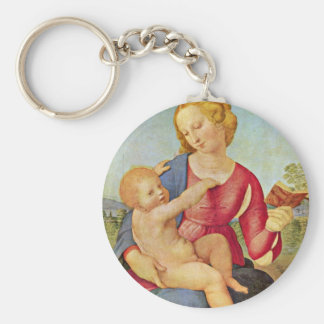 Madonna Of The House Of Colonna By Raffael Basic Round Button Key Ring
